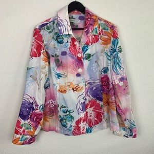 Coldwater Creek Watercolor Floral Linen Jacket